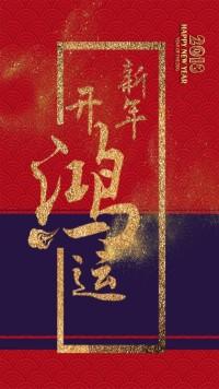 新年春节除夕新年开鸿运企业贺卡个人祝福贺卡拜年
