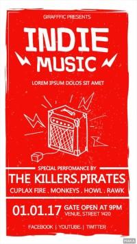 红色复古可爱音响酒吧夜店派对音乐会活动宣传海报